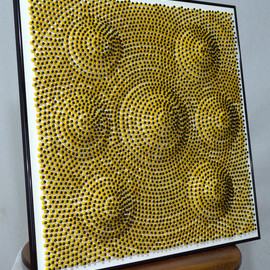 Will Hanlon: 'Sand Castles', 2013 Mixed Media Sculpture, Abstract. Artist Description:         6,000 Custom Painted Push Pins on Foam Board        ...