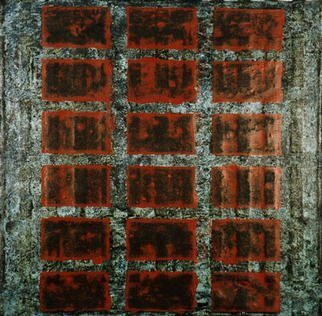 William Dick: 'JAKSCHE', 2001 Encaustic Painting, Abstract. The painting portrays a powerful sense of illumination and generates a spiritual atmosphere through its repainting. The geometric patterns are inspired by both ancient tribal symbols and a fascination with the geological formations of the landscape. Each painting therefore evolves out of itself, layer on layer, transforming and growing in ...