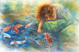 Deborah Wilson: 'The Koi Whisperer', 2008 Giclee, Children.  This is available as a limited edition gicle'e print on canvas.  It is hand- signed, numbered and embellished by the artist, and comes with a Certificate of Authenticity. ...