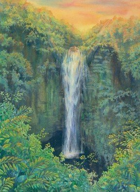 Deborah Wilson: 'amidah', 2014 Watercolor, Spiritual. Artist Description: This is a woman with her arms outstretched to the heavens who becomes a waterfall. Akaka falls   Hawaii   Big Island   Hawaiiana...