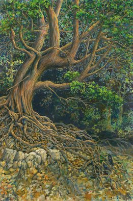 Deborah Wilson: 'shoresh', 2019 Watercolor, Landscape. Tree with tangled roots...