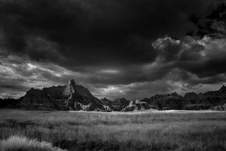 George Wilson: 'Approaching Storm ', 2016 Black and White Photograph, Landscape. Artist Description:  Infrared Black and White Landscape at Vulture Peak, Badlands National Park, SD - printed on a 1/ 16 aluminum sheet and mounted with a metal easel or float mount so they are ready to display as soon as they arrive...