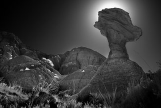 George Wilson: 'Balanced Rock', 2016 Black and White Photograph, Landscape. Artist Description:     Infrared Black and White Landscape South of Fossil Trail, Badlands NP, SD - printed on a 116 aluminum sheet and mounted with a metal easel or float mount so they are ready to display as soon as they arrive     ...