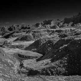 George Wilson: 'Dry Riverbed', 2016 Black and White Photograph, Landscape. Artist Description:   Infrared Black and White Landscape at Yellow Mounds, Badlands National Park, SD - printed on a 116 aluminum sheet and mounted with a metal easel or float mount so they are ready to display as soon as they arrive   ...