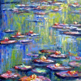 Wim Van De Wege: 'waterlilies in garden', 2017 Acrylic Painting, Garden. Artist Description: A serie paintings from the waterlilies in Monets garden  France . The beautiful paintings of Monet inspires me to also make a series of waterlilies. Whats a better place than the garden where he worked Ready to hang without frame.This is an original work of art and one ...
