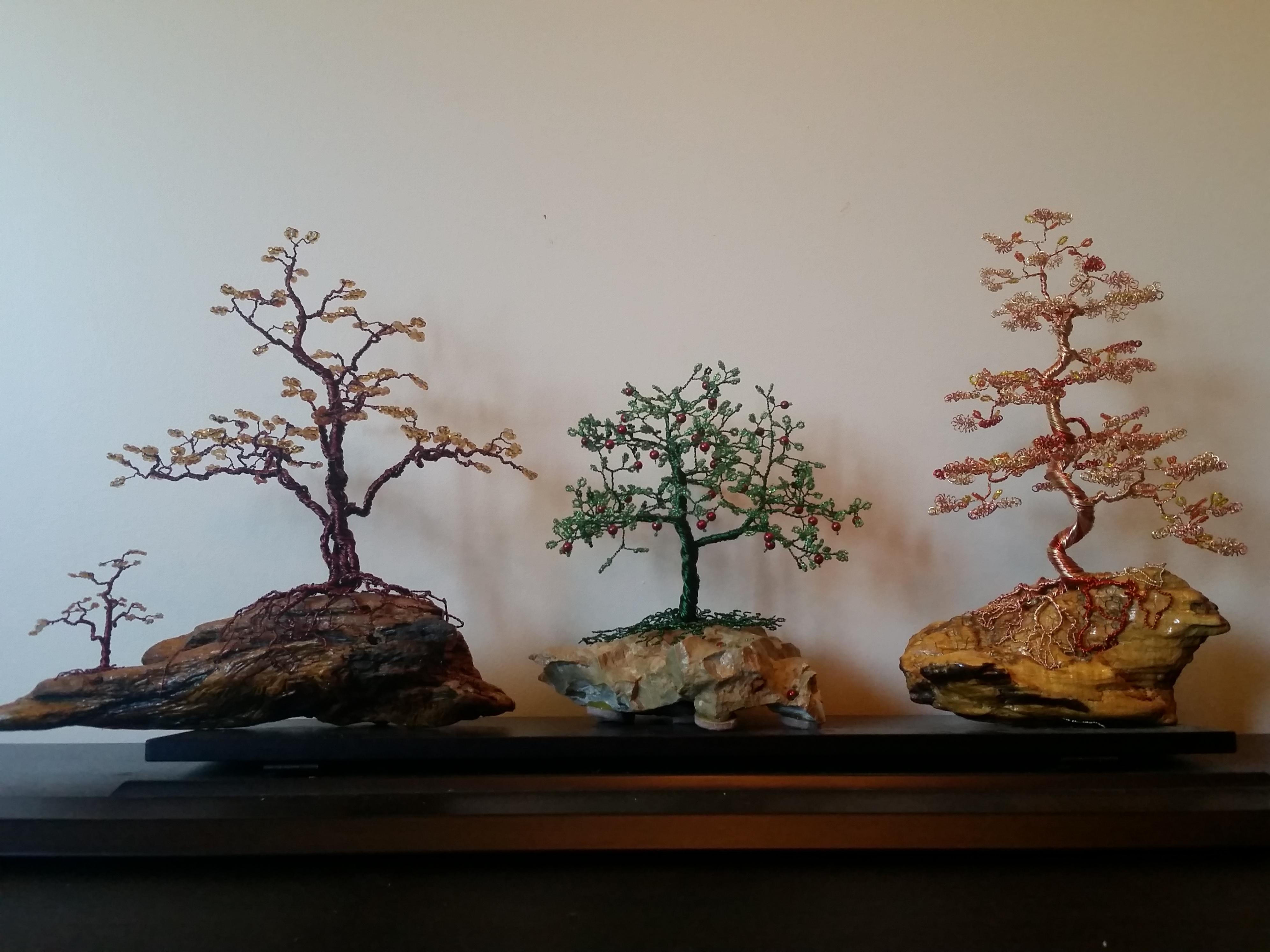 Beaded Wire Tree Bonsai Mixed Media By Ana Wezeman Absolutearts Com