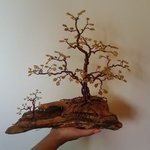 beaded wire tree bonsai gold By Ana Wezeman