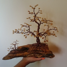Ana Wezeman: 'beaded wire tree bonsai gold', 2018 Other Sculpture, Trees. Artist Description: Beaded Wire Tree Bonsai Sculpture 13aEUR3 x 12aEUR3- Copper Wire and Gold, Amber, Yellow, Topaz Glass Beads with natural Drift Wood BaseBeaded Wire Tree Bonsai Sculpture 13aEUR3 H X 12aEUR3 W X 11aEUR3 DIncluding baseMeasurements of the treewithout base11aEUR3 H x 10aEUR3 W x 11aEUR3 D4 mm ...
