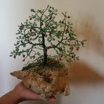 beaded wire tree bonsai green By Ana Wezeman