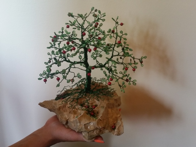 Ana Wezeman  'Beaded Wire Tree Bonsai Green', created in 2018, Original Mixed Media.
