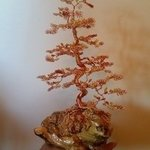 beaded wire tree bonsai orange By Ana Wezeman