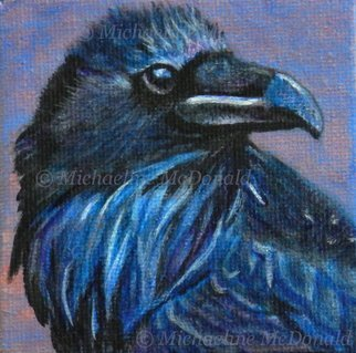 Michaeline Mcdonald: 'blue raven', 2012 Acrylic Painting, Birds. Artist Description: Acrylic painting on canvas featuring a handsome raven painted in blue tones against a pink background. Painted with acrylic paint on stretched canvas measuring 3 x 3 inches. Comes with a table top easel. ...