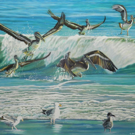 Michaeline Mcdonald: 'dancing pelicans', 2014 Acrylic Painting, Sea Life. Artist Description: Acrylic painting featuring a flock of pelicans that appear to be dancing among the ocean waves. ...