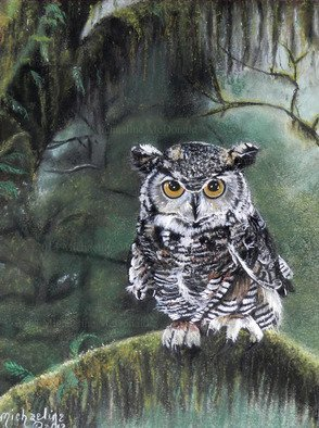 Michaeline Mcdonald: 'watcher in the woods', 2011 Pastel, Animals. Artist Description: Original Pastel Painting featuring a great horned owl sitting on a mossy branch looking over his forest. Created with soft pastels on heavy- weight cotton rag paper. ...