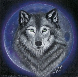 Michaeline Mcdonald: 'wolf moon', 2017 Pastel, Animals. Artist Description: Original pastel painting of a grey wolf in front of a big full moon. Painted in purple and blue tones. ...