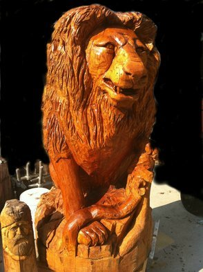 Jim Calder: 'lion of winter', 2011 Wood Sculpture, Animals. Artist Description:  red oak 2200 lbs 6ft ...