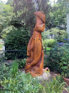 Jim Calder: 'super koi', 2011 Wood Sculpture, Fish.   poplar 2200 lbs 6ft  ...