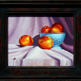 Wm. Kelly Bailey: 'Apricots and A Lady', 2013 Acrylic Painting, Still Life. Artist Description:  Apricots and A Lady, acrylic painting on stretched canvas. 10x8 painting, frame O. D. is 12 x 14. Available at Hooks- Epstein Galleries, Houston, Tx.   ...