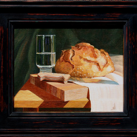 Wm. Kelly Bailey: 'Bread and Water', 2013 Acrylic Painting, Still Life. Artist Description: Bread and Water, acrylic painting on stretched canvas. 10x8 painting, frame O. D. is 12 x 14. ( Private Collection, Houston, Tx. )...