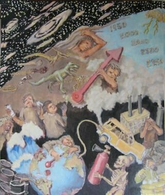 Wendy Lippincott: 'In The Year 2155', 2013 Oil Painting, Ecological.  Doomsday, Evolution, Destruction            ...