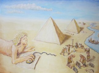 Wendy Lippincott: 'On Nile', 2016 Oil Painting, Satire. Artist Description:  Egypt, pyramids, web surfing, Figures, puzzle...