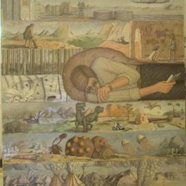 Wendy Lippincott: 'Paleontology', 1993 Oil Painting, Science. Artist Description: Paleontologist' digging' through time...