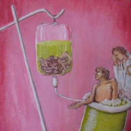Wendy Lippincott: 'disease', 2019 Oil Painting, Science. Artist Description: Representation of Disease, Sickness, CoronaVirus, Medicine, Testtube, Virus, Corona, Suffering...