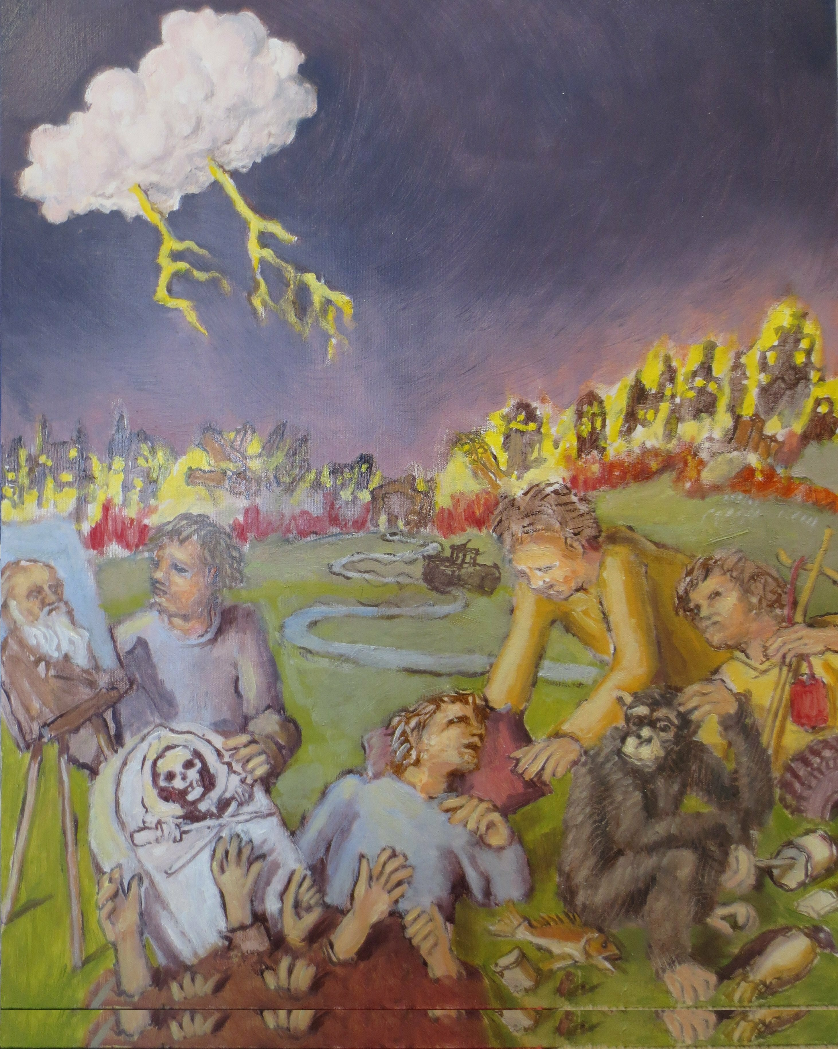 Wendy Lippincott: 'the road to hell', 2020 Oil Painting, Ecological. The Road to Hell is Paved with Good Intentions...