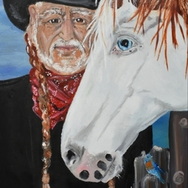 Susan Snow  Voidets : 'blue skies', 2019 Oil Painting, Famous People. Artist Description: Who wouldn t be singing Blue Skies with Willy Nelson whole looking at this paintingEven the bluebirds are singing a song.  The horse is a rescue medicine hat on his farm.  You will love the colors and theme. ...