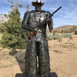 Wendy Rahier: 'frisco the cowboys cowboy', 2019 Steel Sculpture, Western. Artist Description: This beyond life sized Grand metal Sculpture Frisco is a one of a kind cowboy created by Artist Jim Rahier. This is  2 of his 12 series cowboys and will increase in value with each new cowboy sculpted. As he totes his double barrel shot gun and two ...