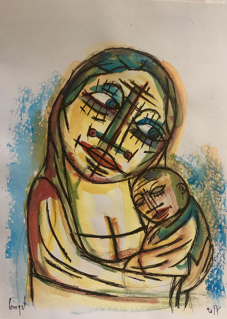 Luc Wunenburger  'La Vierge Et L Enfant', created in 2017, Original Painting Oil.
