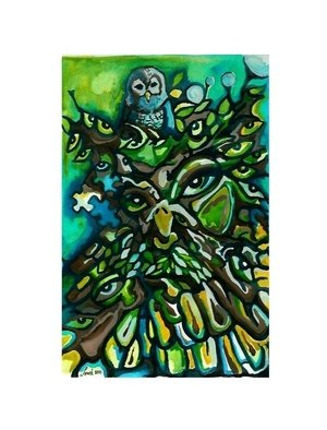 Lynch Xabier Artwork Green Man Owl, 2010 Watercolor, Surrealism