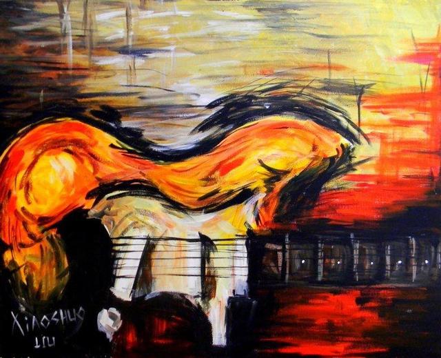 Xiaoshuo Liu Artwork Guitar Original Painting Acrylic