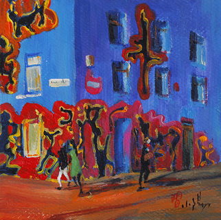 Xiaoyang Galas Artwork Another day, 2009 Acrylic Painting, Cityscape