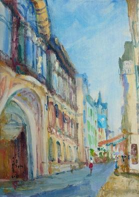 Xiaoyang Galas Artwork Old street of Evian, 2005 Oil Painting, Urban