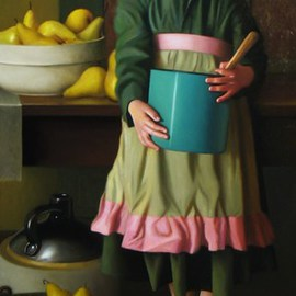 Timothy Tyler: 'Pears', 2010 Oil Painting, Figurative. Artist Description:   Figure with pears in kitchen timothy c tyler  ...