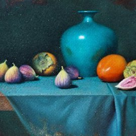 Timothy Tyler: 'Persimmons and Figs', 2005 Oil Painting, Still Life.