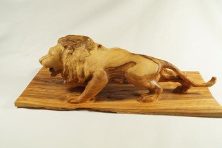 Kir Asariotis: 'lion olive ', 2015 Wood Sculpture, Animals. Artist Description:  olive wood  ...