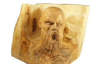 Kir Asariotis: 'socrates', 2014 Wood Sculpture, Mythology. Artist Description:   Socrates ancient Athenian philosopher. carving olive wood  ...