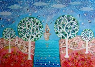 Yana Ilieva: 'When the spring came ', 2013 Acrylic Painting, Naive. Artist Description:  art artnaive naive paintings paintingsnaive artgallery illustrations Castle sailboat spring ...