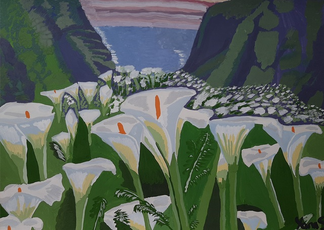 Yana Syskova  'Calla Lilies In The Mountains', created in 2020, Original Painting Other.