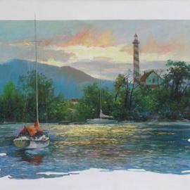 Yu Wu Artwork Homecoming, 2005 Oil Painting, Landscape