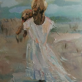 Nataliya Yatel: 'Overcome evil with kindness', 2015 Oil Painting, Figurative. Artist Description:  impressionism people figurative dog   ...