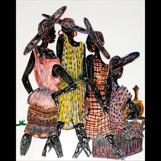 Yaw Pepra: 'Sisters Act', 2011 Mixed Media, Beauty. Artist Description:   This is a pen and ink depiction of an aspect of woman hood in its Glory. The beauty of woman hood and its complex institutions has always been a mystified subject.  ...