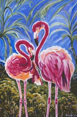 Birds Oil Painting by Yelena Rubin Title: Love Flamingos, created in 2011