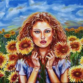 Yelena Rubin: 'Summers Sunflowers', 2013 Oil Painting, Portrait. Artist Description:  The sun provides the constant renewal of life.  Its warmth and radiance enhances our beauty and gives us energy. This painting attempts to showcase these qualities in a unique way.