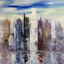 Paul Ygartua Artwork City Skyscrapers Vancouver, Coal Harbour, 2016 Acrylic Painting, Abstract
