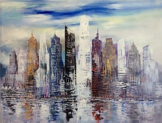 Paul Ygartua: 'City Skyscrapers Vancouver Coal Harbour', 2016 Acrylic Painting, Abstract. Artist Description:  City skyscrapers have always impressed me by their strength and bold statement they express for cities around the world. Here is Vancouver, Canada a view from Coal Harbour - acrylic on canvas posted on ygartuaoriginals. com ...