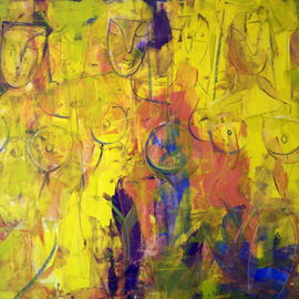 Paul Ygartua: 'Yellow Ladies', 2007 Acrylic Painting, Abstract Figurative.