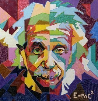Yosef Reznikov: 'albert einstein', 2019 Mixed Media, Portrait. A pop art portrait is the most original gift.The first images of pop art appeared in the early 60s, they combined mass culture and artistic creation.  Pop art as a movement originated in the works of British artists Joe Tilson, Peter Blake and Richard Smith.  They painted vivid images ...